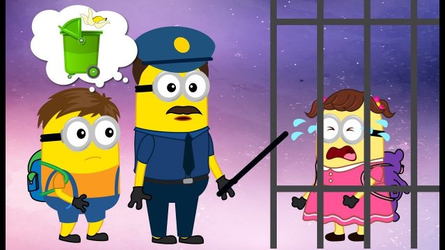Minions Banana Littering on Street & Crying in Prison Full Movie! Finger Family Song Nursery Rhymes